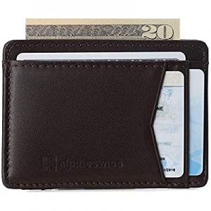 One Day Only!40.0% off Alpine Swiss Mens Oliver RFID Safe Minimalist Front Pocket Wallet Smooth Le..