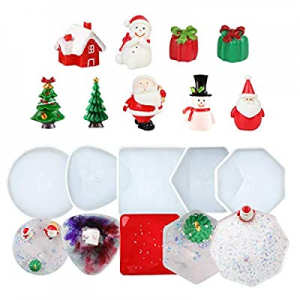One Day Only!DIY Coaster Silicone Mold now 15.0% off , Dorakitten 5 PCS Epoxy Resin Molds Coaster ..