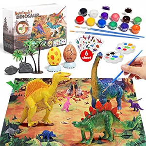 One Day Only!50.0% off Lehoo Castle Kids Crafts Supplies Kit 44 Pcs Decorate Your Own Dinosaur Fig..