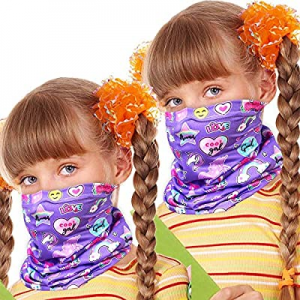 WZLVO 2pc Seamless Face Cover Mouth Mask Scarf Bandanas Neck Gaiter for Girls Unicorn now 80.0% off