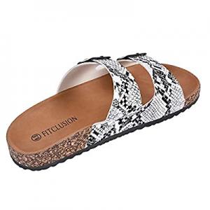 50.0% off JENN ARDOR Women's Slide Sandals Slip on Cork Slides Flat Shoes with 2 Strap Adjustable ..