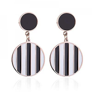 Round Statement Dangle Earrings for Women Girls with Sterling Silver Earrings Post now 50.0% off ,..