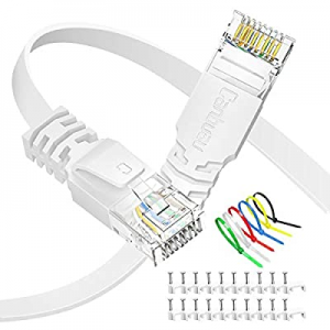 Cat6 Ethernet Cable 50 ft Flat now 50.0% off , Canbuau Internet Network LAN RJ45 Gigabit White Pat..