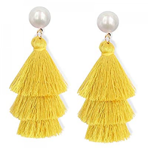 One Day Only!45.0% off JSLOVE Tassel Earrings- Tiered Thread Bohemian Layered Fringe Statement Ear..