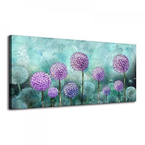 50.0% off BYXART Canvas Wall Art Abstract Dandelion Picture for Living Room Decor Blossom Purple F..