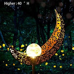 Garden Solar Light Outdoor Decorative - Moon Decor now 50.0% off , Crackle Glass Ball Metal Garden..