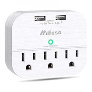 3 Outlet Surge Protector now 30.0% off , Multi Plug Outlet Extender with 2 USB Wall Charger (Smart..
