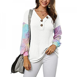 One Day Only!SySea Womens Tye Die Print Long Sleeve Henley Shirts V Neck Waffle Knit Loose Tunic T..