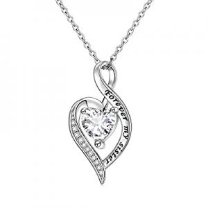 Sister Gift 925 Sterling Silver Always My Sister Forever My Friend Love Heart Engraved Sister Neck..