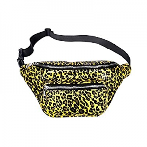 One Day Only!Geestock Leopard Fanny Packs PU Leather Bumbag Women Belt Bag Cute Waist Pack with Ad..