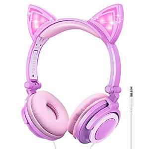 One Day Only!Kids Headphones now 74.0% off , Cat Ear Wired Headphones for Girls Boys, Over Ear Hea..