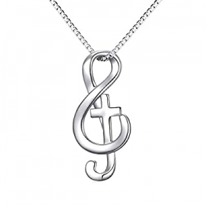 40.0% off Musical Note Necklace Pendant 925 Sterling Silver Treble Clef Music Jewelry for Women Gi..