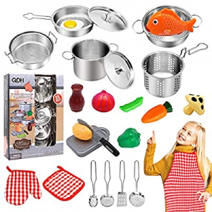 20.0% off QDH Play Kitchen Accessories Kids Kitchen Pretend Play Toys with Stainless Steel Cookwar..