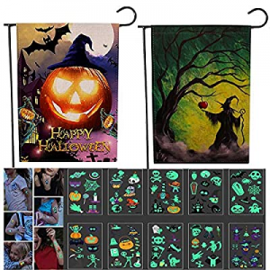 55.0% off DUOPI 2 Pieces Halloween Garden Flags Yard Flags Double Sized Seasonal Garden Flag Happy..