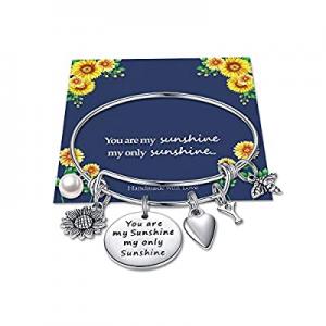 Sunflower Charm Bracelets for Women Girls now 55.0% off , Stainless Steel Expandable Bangle Bracel..