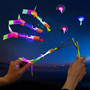 10pcs Amazing Led Light Arrow Rocket Helicopter Flying Toy Party Fun Gift Elastic now 50.0% off