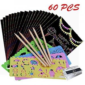 50.0% off YAZOM Scratch Paper Art Set 60 Magic Rainbow Scratch Paper Off Set Colorful DIY Scratch ..