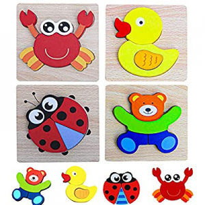 42.0% off PETITOY Wooden Puzzles Animal Jigsaw Puzzles Early Educational Toys Montessori Baby Infa..