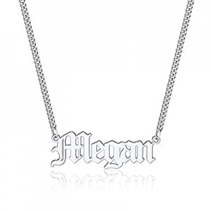 One Day Only!Iefil Custom Name Necklace Personalized now 60.0% off , Stainless Steel Old English C..