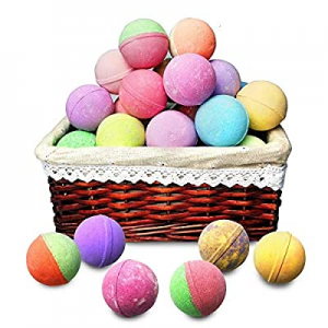 Bath Bombs Gift Basket for Women. 18 Moisturizing Bulk Bath Bombs with Essential Oils & Shea Butte..