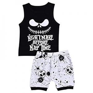 56.0% off Toddler Baby Boy Girl Clothes 2PCs Outfit Set Nightmare Before Nap Time Top and Skull Pa..