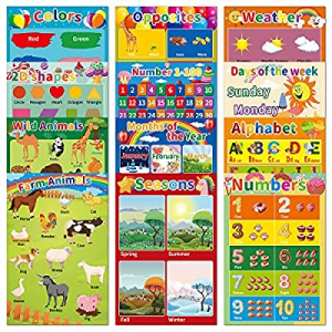 50.0% off 12Pack Laminated Educational Posters for Preschool Kids Toddlers Classroom Learning-Alph..