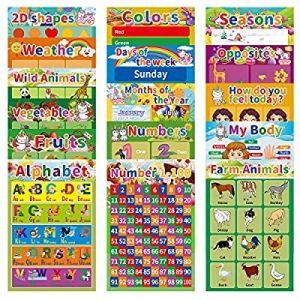 One Day Only!50.0% off 16Pack Laminated Educational Posters for Preschool Kids Toddlers Classroom ..