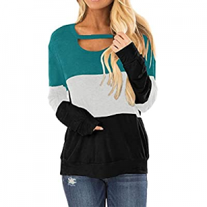 20.0% off Topstype Women's Color Block Chest Cutout Long Sleeve T-Shirts Scoop Neck Blouse Casual ..