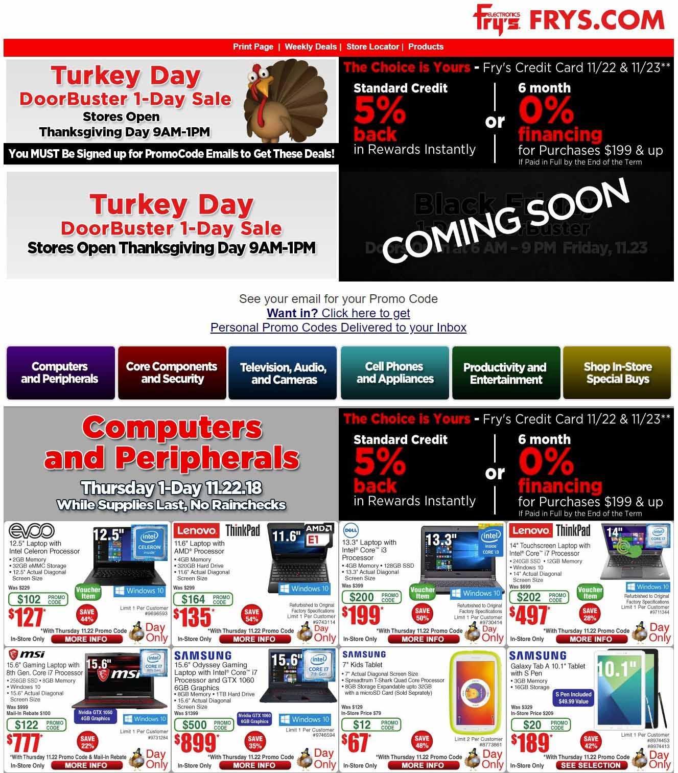 Frys's Black Friday Flyers & Ad Scans - Desktop PC,Dell XPS