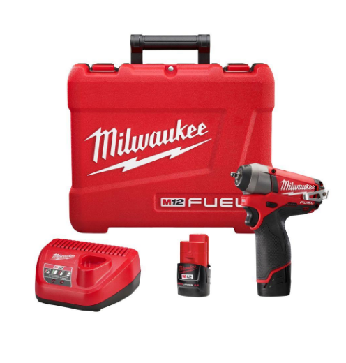 Milwaukee M12 FUEL 12-Volt Lithium-Ion Brushless Cordless 1/4 in. Impact Wrench Kit with (2) 2.0h