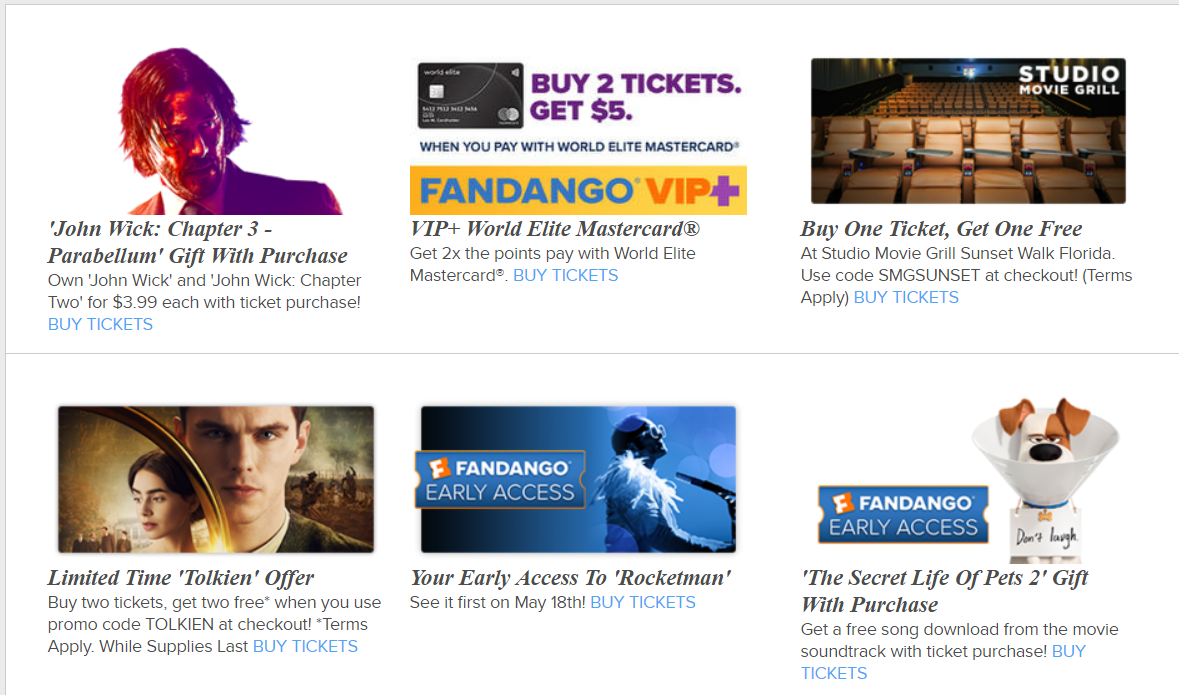 Free Movie Tickets And Special Offers @Fandango Buy 1 Get 1